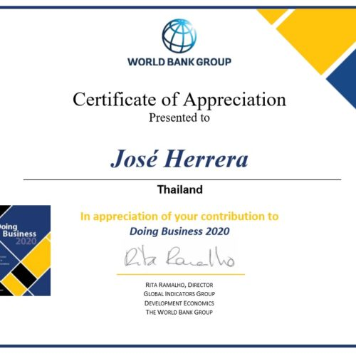 Certificate of Appreciation from the World Bank to Herrera and Partners