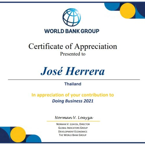 World Bank's Certificate of Appreciation in 2021 to Herrera and Partners
